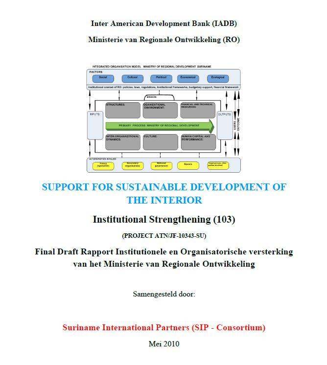 Final Draft Rapport Institutionele en Organisatorische versterking van het Ministerie