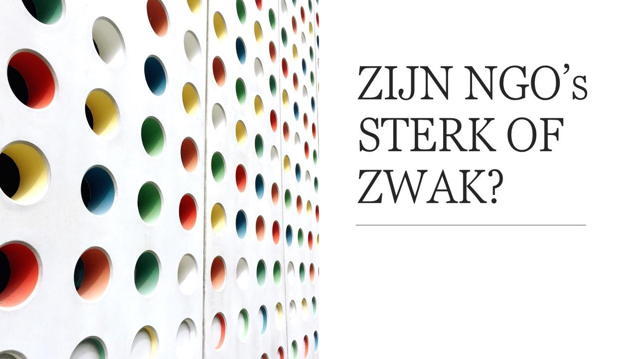 59 ZIJN NGO's STERK OF ZWAK